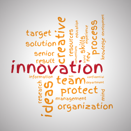 conventions: Innovation wordcloud on white vignette background