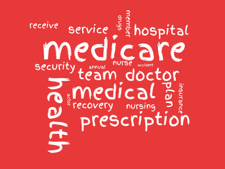 wordcloud: Medicare wordcloud on red background