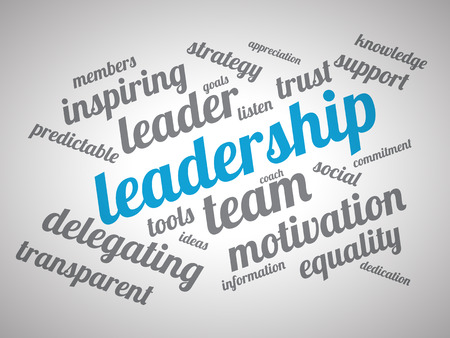 Leadership wordcloud on white vignette background