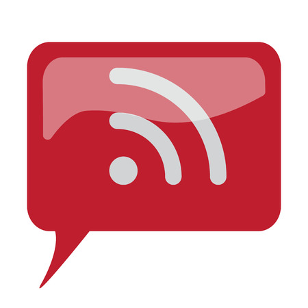 rss icon: Red speech bubble with white Rss icon on white background