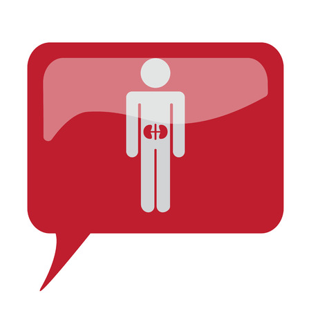 Red speech bubble with white Kidneys icon on white background