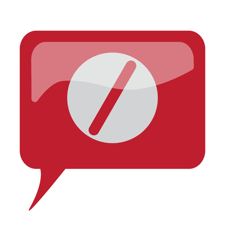 Red speech bubble with white Pill icon on white background Illustration