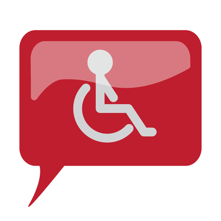 speech bubble hospital: Red speech bubble with white Wheel Chair icon on white background