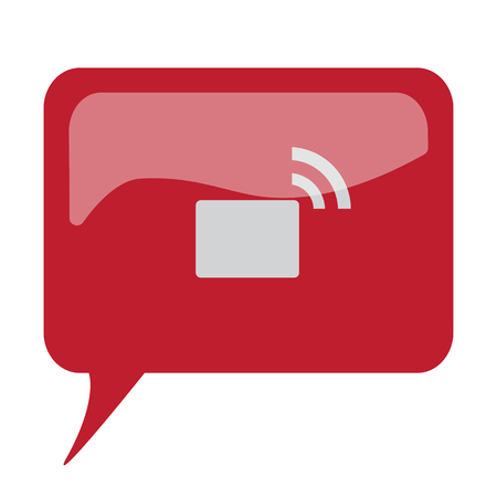 transmitter: Red speech bubble with white Transmitter icon on white background Illustration