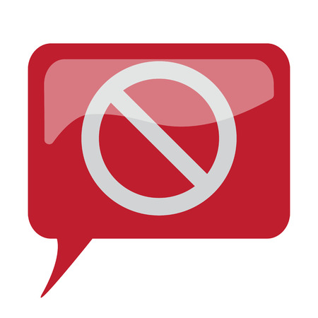 suppression: Red speech bubble with white Forbidden icon on white background
