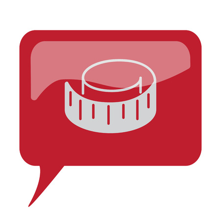 Red speech bubble with white Measuring Tape icon on white background