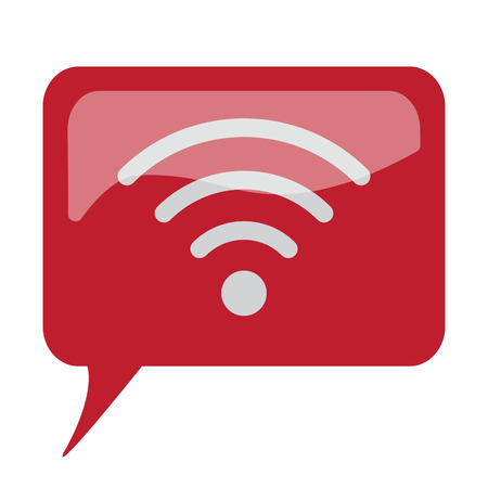 Red speech bubble with white Wireless icon on white background Illustration