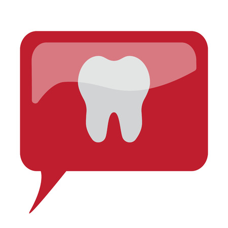 comunicacion oral: Red speech bubble with white Tooth icon on white background