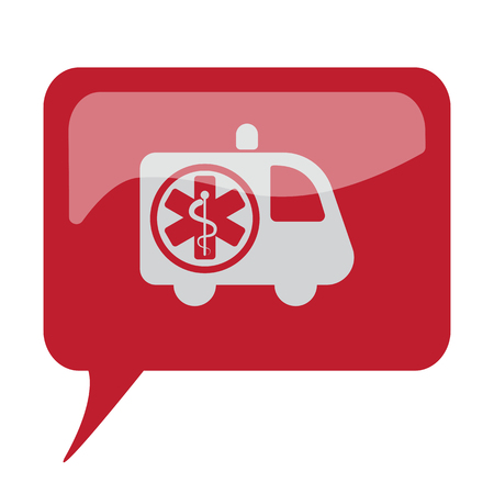 Red speech bubble with white Ambulance icon on white background