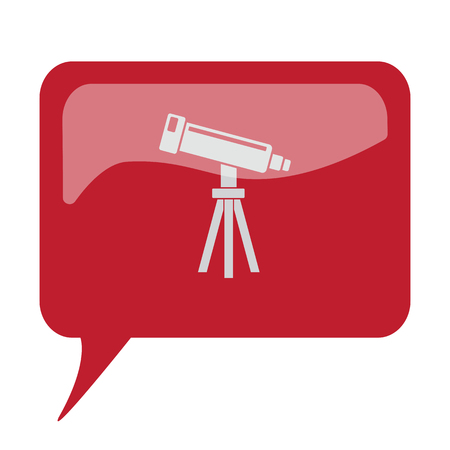 benchmark: Red speech bubble with white Telescope icon on white background Illustration