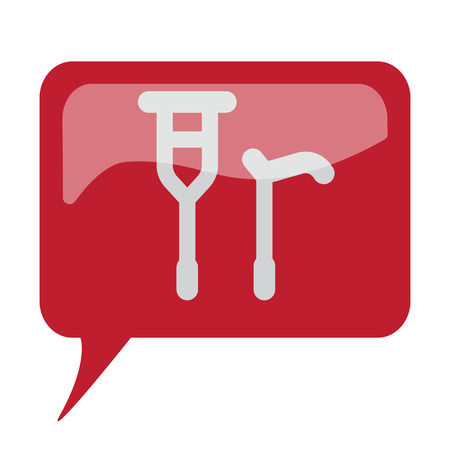 Red speech bubble with white Crutch Cane icon on white background Illustration