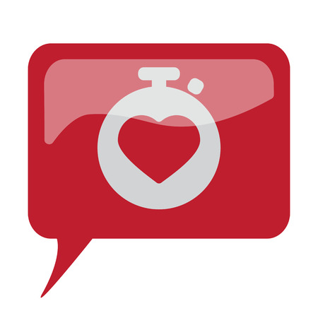 speech bubble hospital: Red speech bubble with white Heart Rate Monitor icon on white background