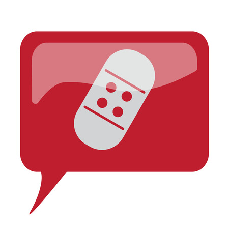speech bubble hospital: Red speech bubble with white Adhesive Bandage icon on white background