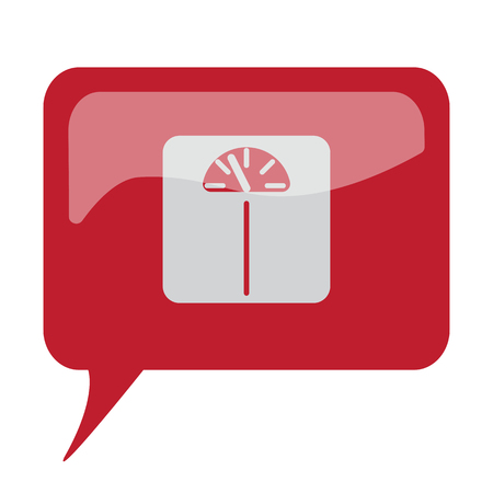 Red speech bubble with white Personal Scale icon on white background