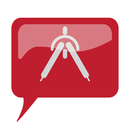 Red speech bubble with white Drafting Compass icon on white background Illustration