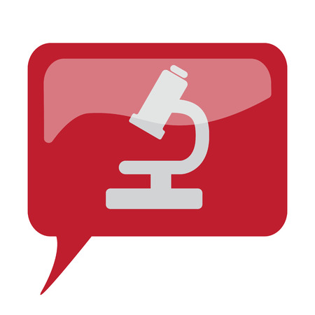 Red speech bubble with white Microscope icon on white background Illustration