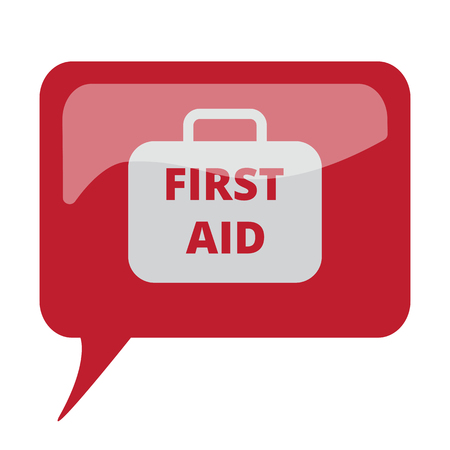 speech bubble hospital: Red speech bubble with white First Aid Kit icon on white background