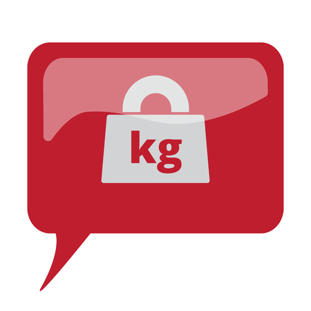 lbs: Red speech bubble with white Weight Kilograms icon on white background