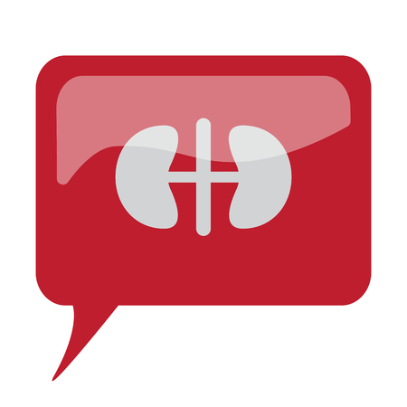 speech bubble hospital: Red speech bubble with white Kidneys icon on white background