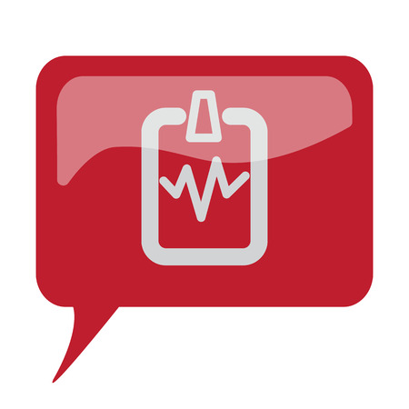 speech bubble hospital: Red speech bubble with white Cardiogram Clipboard icon on white background Illustration