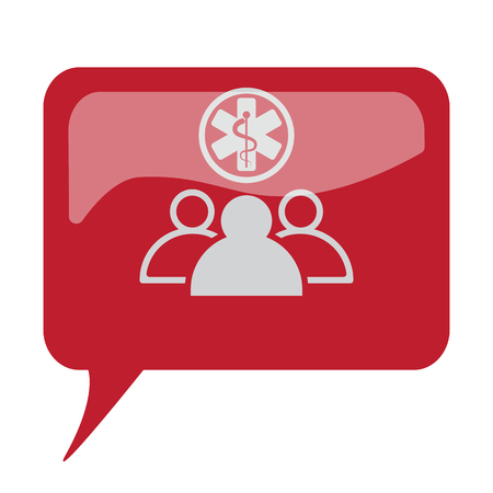 Red speech bubble with white Medical Team icon on white background Illustration