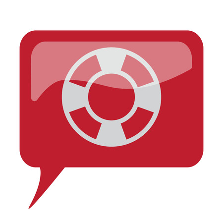 Red speech bubble with white Life Buoy icon on white background