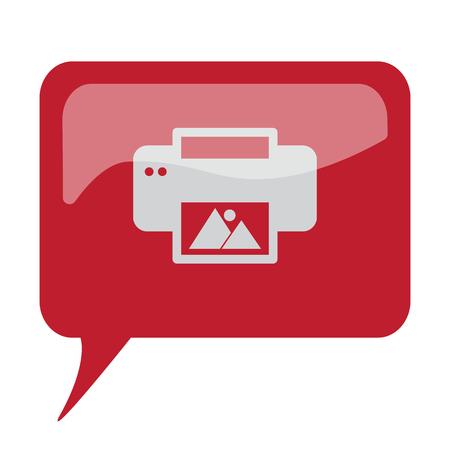photo printer: Red speech bubble with white Photo Printing icon on white background