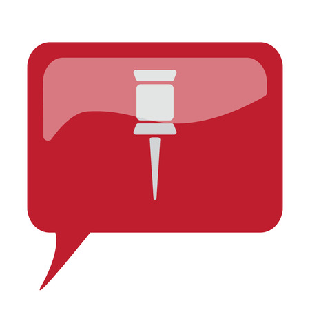 white pushpin: Red speech bubble with white Pushpin icon on white background