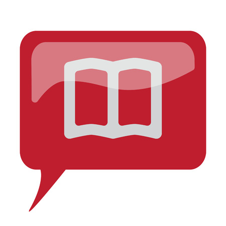 talking dictionary: Red speech bubble with white Book icon on white background