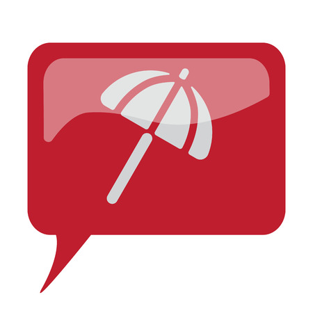 sunshade: Red speech bubble with white Parasol icon on white background