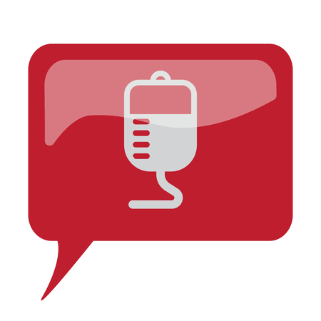 Red speech bubble with white Transfusion icon on white background Illustration