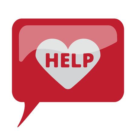 defibrillator: Red speech bubble with white Defibrillator  icon on white background