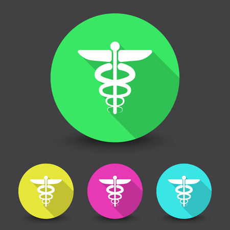 esculapio: White Medical Symbol icon in different colors set Vectores