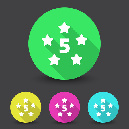 five star: White Five Star icon in different colors set