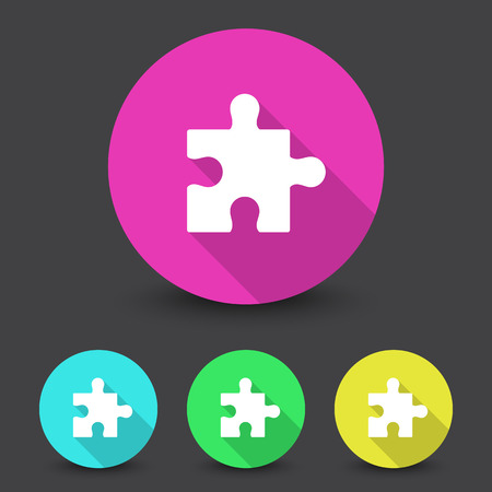 White Puzzle icon in different colors set