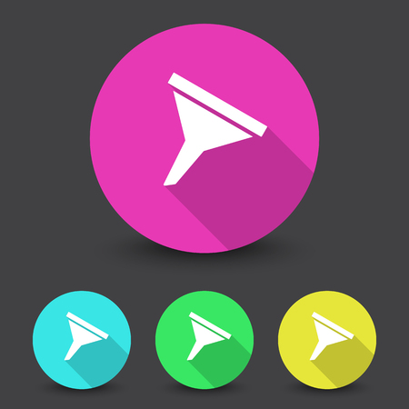 filtering: White Funnel icon in different colors set