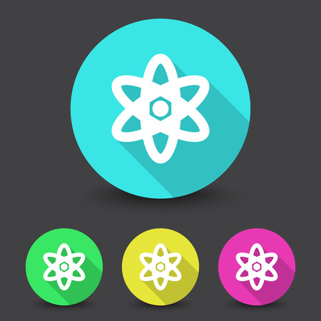 fission: White Nuclear icon in different colors set Illustration