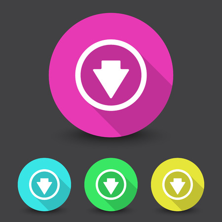 arrow down icon: White Arrow Down icon in different colors set