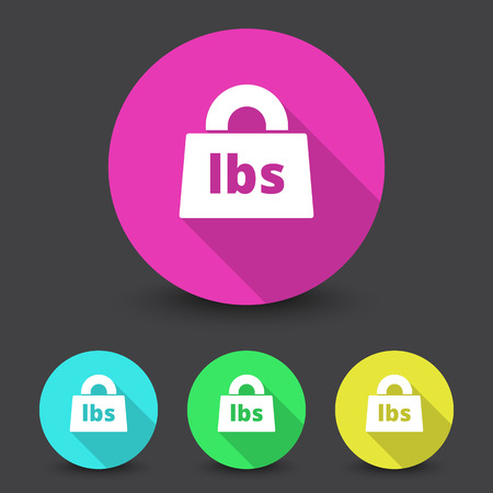 lbs: White Weight Pounds icon in different colors set