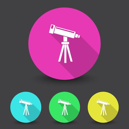 White Telescope icon in different colors set