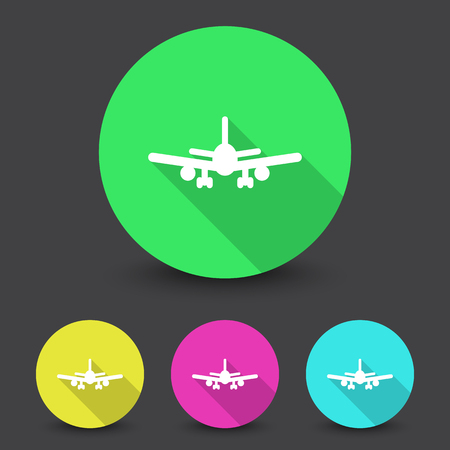 airplane: White Airplane icon in different colors set Illustration