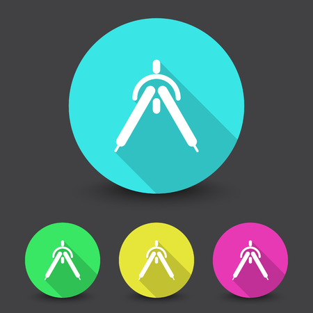 drafting: White Drafting Compass icon in different colors set Illustration