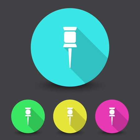 white pushpin: White Pushpin icon in different colors set