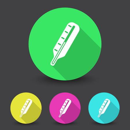 White Thermometer icon in different colors set