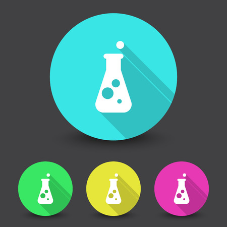 diagnosis: White Conical Flask icon in different colors set