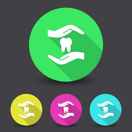 orthodontist: White Dental Care icon in different colors set Illustration
