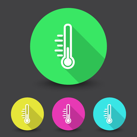 White Temperature icon in different colors set Illustration
