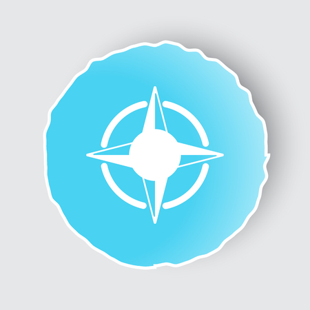 Blue app button with Compass Rose icon on white.