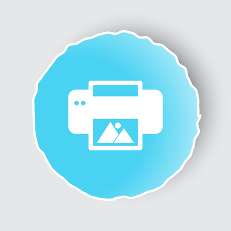 Blue app button with Photo Printing icon on white.
