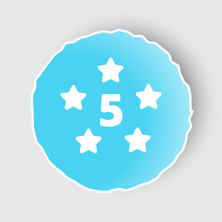 five star: Blue app button with Five Star icon on white. Illustration